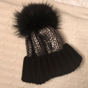 Real fur aqua beanie hat